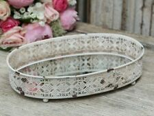 Tablett Spiegeltablett Metall antique weiss oval 29x19x6 cm Vintage Shabby Roman