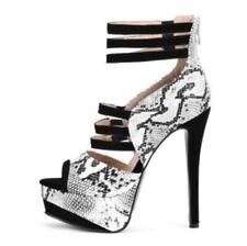 Women Sandals Snakeskin Print Stilettos Super High Heel Pumps Party Sexy 36/47 L