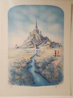 Mont St. Michel - Rafflewski  Lithograph Signed - aqua