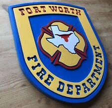 Fire Department Fort Worth 3D routed carved award patch plaque sign Custom