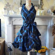Electric blue limited edition tartan wrap dress
