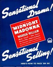 MIDNIGHT MADONNA pressbook, Warren William, Kitty Clancy, Mady Correll 1937!!!