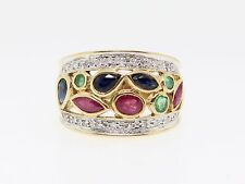 14K YELLOW GOLD SAPPHIRE, RUBY, EMERALD, AND DIAMOND RING (*SC)