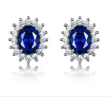 925 Sterling Silver Round Blue Sapphire White Topaz Oval Stud Earrings