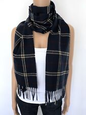 NEW 100% Cashmere Germany Scarf Wrap Navy Blue Red Flannel Striped Men's Women's