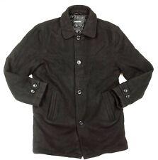 London Fog Mens Black Wool Blend Coat Jacket Button Down Size L
