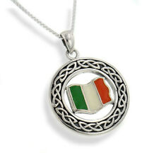 "Irish Celtic Knot Flag of Ireland Pendant 20"" Necklace"