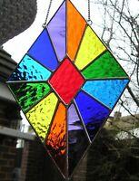 Stained Glass Diamond Rainbow Suncatcher, Panel, Geometric, Handmade in England