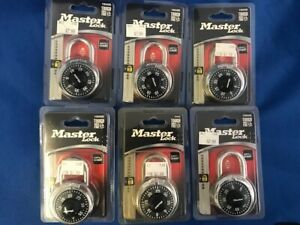 "Lot of 6, Combination Padlocks Master Lock 1500D Preset 1-7/8"" Wide, Black Dial"