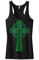 Threadrock Women's Green Celtic Cross Racerback Tank Top Irish Pride Religious