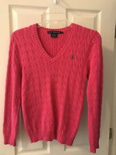 Ralph Lauren Sport Women's Hot Pink V-Neck Cable Knit Sweater Size L