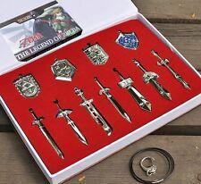 Great 11PCS Legend of Zelda Master Sword Necklace Pendants Cosplay Free Chain