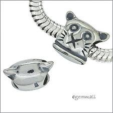 Antique Sterling Silver Cat Face Charm Bead Fit European Bracelet 1pc #51951