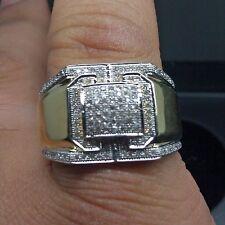 10 K Uomo Anello Fidanzamento Matrimonio 10K di Diamanti, Oro Giallo Micro Pavé