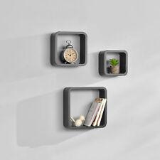 [en.casa]® 3er Set Wandregal Hängeregal Bücherregal Cube Lounge CD Regal Grau