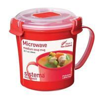 Sistema Microwave Soup Mug Lunch Stew Hot Drinks Cup, 656ml BPA Free - Red/Clear