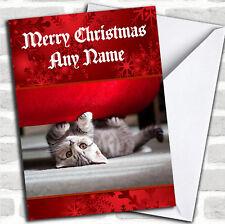 Belle chaton de Noël personnalisés Carte