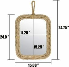 Vintage Rectangle Rope Mirror with Hanging Loop, Vintage Nautical Home Decor