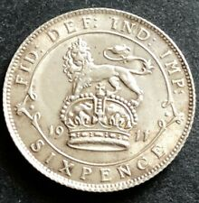 More details for 1911 george v silver sixpence higher grade coin -  a beauty - free uk p & p.