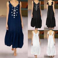 Women Sleeveless Long Maxi Kaftan Flared Beach Party Plus Size Floral Sun Dress