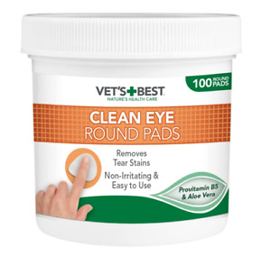 Vet's CLEAN EYE ROUND PADS - Pack of 100 Cleaning Pads for Dogs