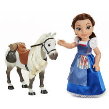 """Beauty and the Beast 15"""" Belle Blue Dress Doll With Horse - Brunette Hair Disney"""