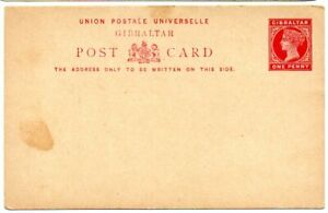 Gibraltar 1887 QV 1d Postal Stationery card H&G 4