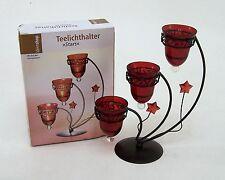 Teelichthalter STARS  Metallhalter im antiken Braunton & roten Glaseinsätzen