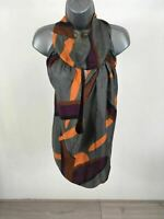 WOMENS ZARA WOMEN GREY COLORED HALTER NECK TIE SASH TOP SIZE EUR S USA S