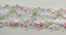 """3"""" Wide PINK and GREEN Floral  Textured Stretch Lace  - BTY"""