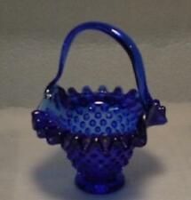 Cobalt Blue Glass Hand Made Hobnail Basket
