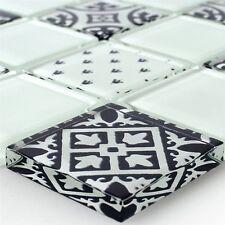 Mosaikfliesen Glas Zementoptik Weiss