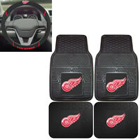 New NHL Detroit Red Wings Car Truck Front Back Floor Mats & Steering Wheel Cover