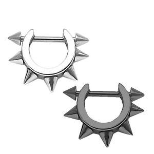 Punk Helix Ohrpiercing Edelstahl Ring mit Spitzen silber Piercing