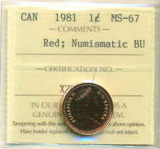 1981 Canada Small Cent, Red; NBU ICCS MS-67