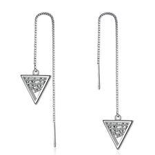 925 Sterling Silver Zircon Cluster Triangle Tassel Stud Dangle Earrings Jewelry
