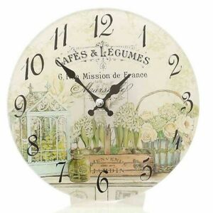 "Nostalgia Wall Clock,Table Clock "" Cafes & Legumes "" Romantic Country House"