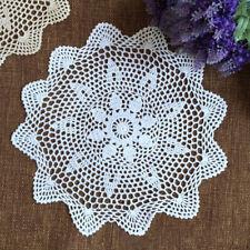Vintage Cotton Placemat Hand Crochet Floral Lace Table Mats Decor White 16''