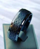 WOLFRAM/TUNGSTEN CARBIDE RING - 9 MM BREIT - LASERCUT - CELTIC  - TITAN HART 12#