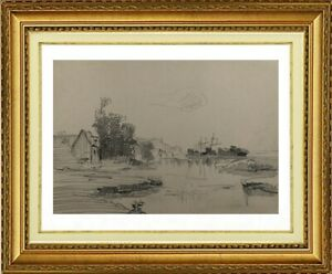 CHARLES WISLIN (1852-1932) BORD DE MER PRES DE HONFLEUR NORMANDIE 1889 (949)