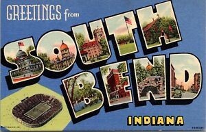 Two Linen Postcards Large Letter Greetings from South Bend, Indiana~131973
