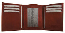 Mens Cowhide Leather Credit Card ID Window Classic Style Trifold Wallet Burgundy