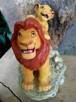 MUFASA AND SIMBA SCHMID MUSICAL CERAMIC FIGURINE, LION KING,NEW MINT,Not Working