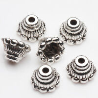 25/50Pcs Tibetan Silver Jewelry Findings Carved Flower Bead Caps Findings 7*5mm