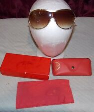 Vintage Ray Ban USA Aviator Sunglasses Case Box + Cloth Gold Trim  Brown Lense
