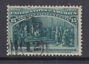 US Sc 238 used 1893 15c dark green Columbian
