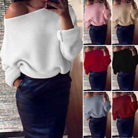 Women's Off the Shoulder Chunky Knit Jumper Tops Oversized Baggy Tunic Sweater