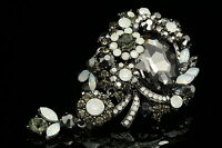 pendant black opal crystal Bouquet brooch pin Birthday gift wedding party H09
