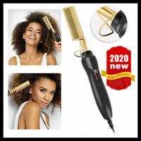 Electric Beard Hair Straightener Brush Comb Flat Curling Curler Iron Heating