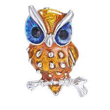 Fashion Women Retro Crystal Rhinestone Enamel Animal Owl Brooch Pin Jewelry Gift